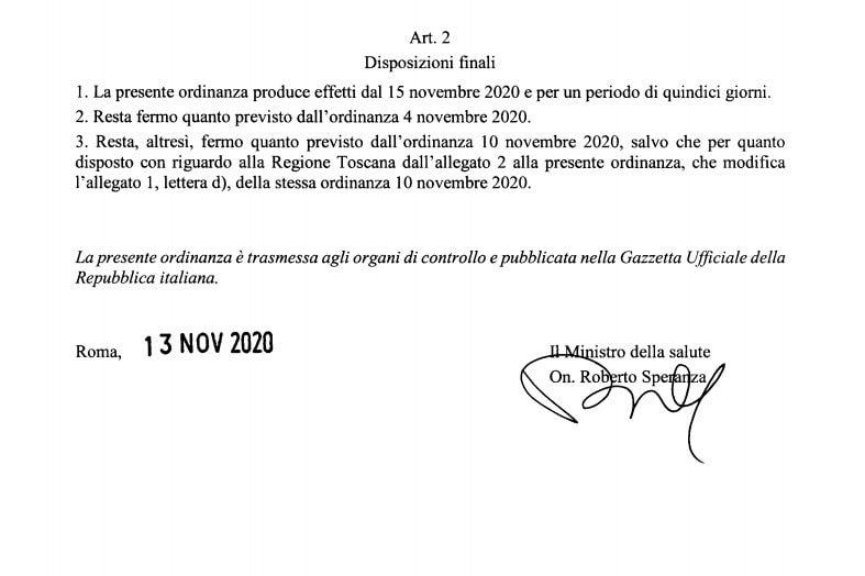 Il passaggio dell'ordinanza del 13 novembre 2020 che certifica la durata della zona rossa per la Campania.