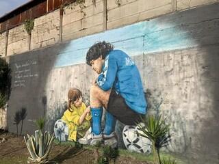 """Il murale di Maradona all'ex Centro Paradiso di Soccavo: """"Così Diego è tornato a casa sua"""""""