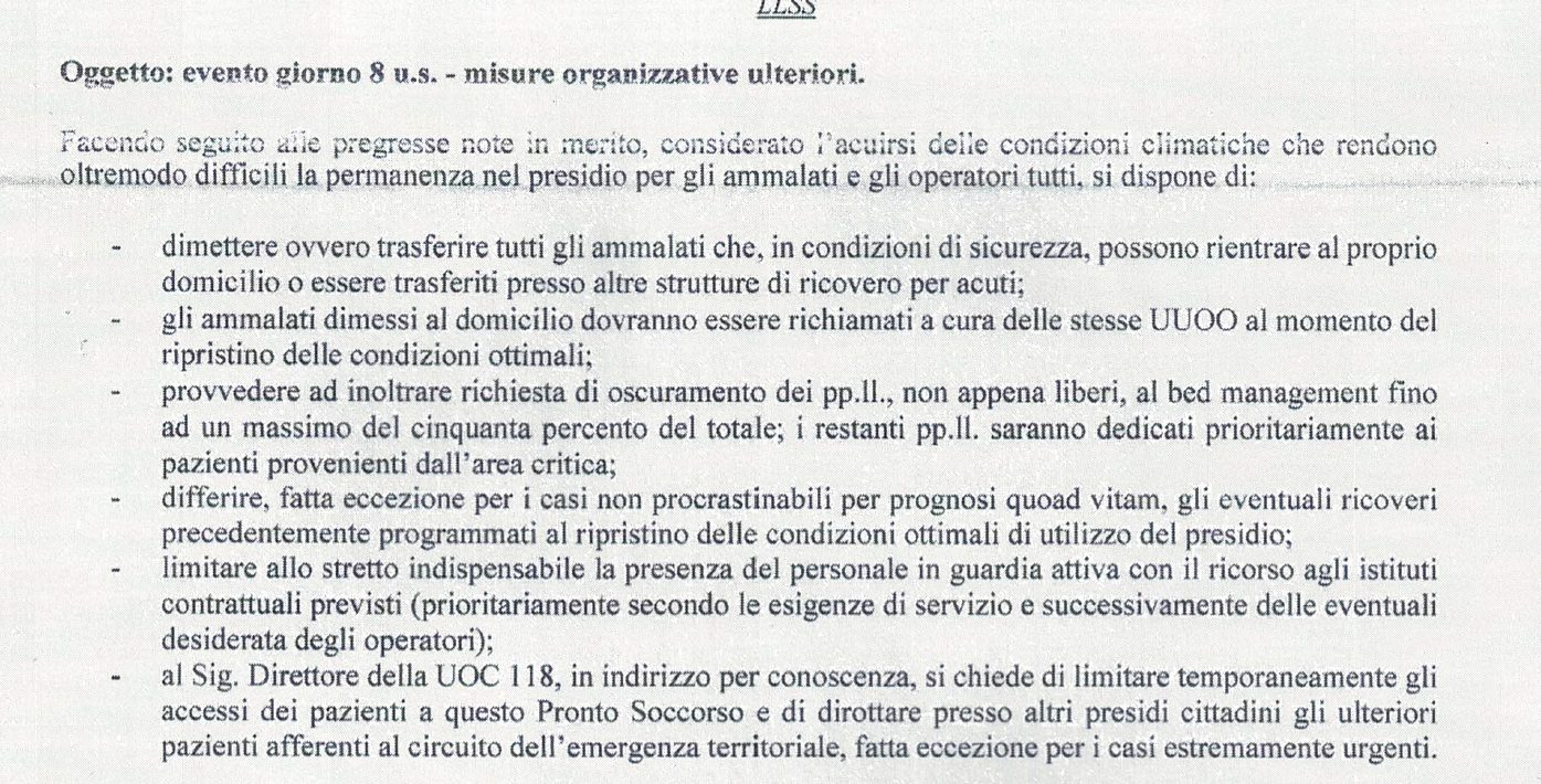 Il documento della direzione sanitaria dell'Ospedale del Mare