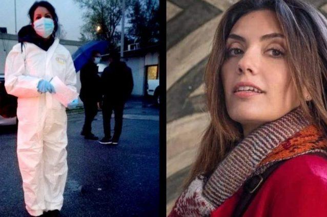 A sinistra l'assistente sociale Alessandra Romano, a destra Serena Rossi nelle vesti di Mina Settembre