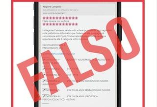 """""""In Campania tutti possono prenotarsi per il vaccino Covid"""": ma è una fake news"""