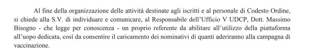 Nota Inviata dalla Regione Campania all'Ordine dei Giornalisti