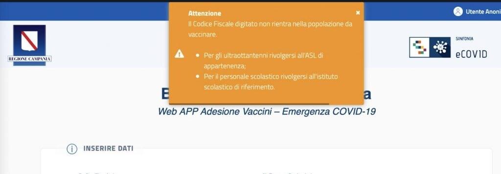 Schermata del portale Regione Campania