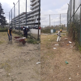 Scampia, i fratelli calciatori Antonio e Gaetano Letizia riqualificano il campo delle Vele