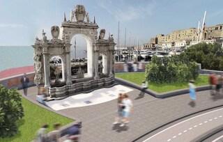 Lungomare di Napoli, il progetto della Fontana del Gigante con l'arena in pietra lavica