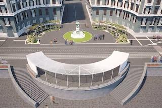 """Lungomare di Napoli, la nuova piazza Nazario Sauro: i tarallari """"nascosti"""" dal pergolato"""