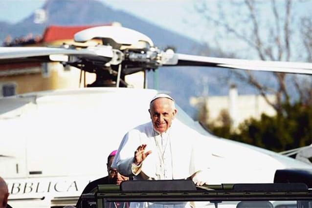 Papa Francesco appena arrivato a Pompei