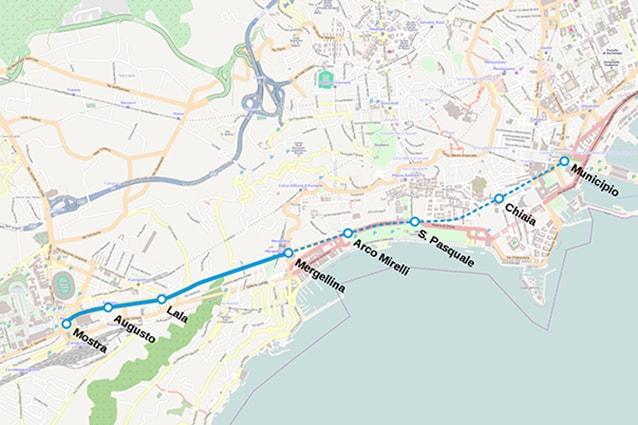 Mappa linea 6 della Metropolitana di Napoli