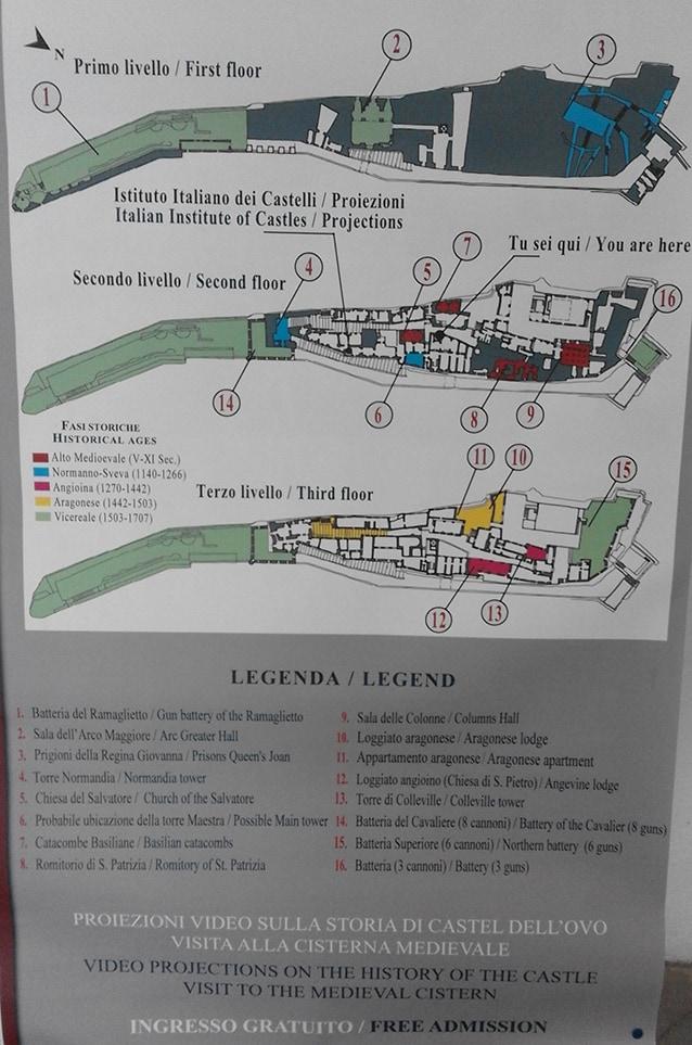 La mappa interna del Castel dell'Ovo di Napoli (@Fanpage.it by CC 3.0).