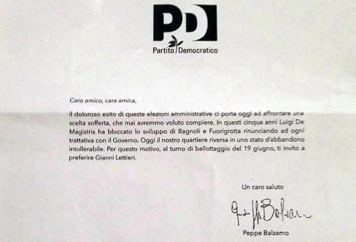 La lettera di endorsement di Balzamo per Lettieri