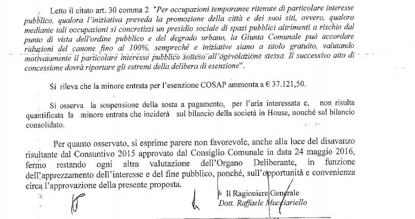 Il parere contrario della ragioneria generale del Comune all'esenzione del canone suolo per l'evento Dolce e Gabbana