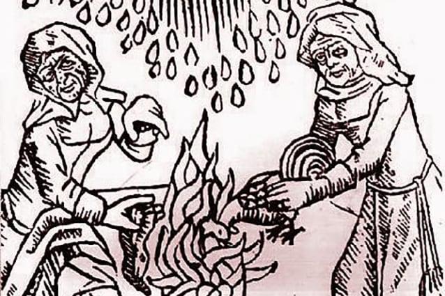 Xilografia del 1489 raffigurante due streghe