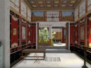 L'interno, ricostruito in 3D, di una villa pompeiana