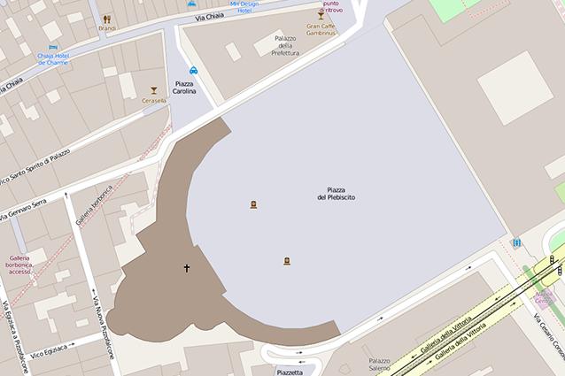 Pianta di piazza del Plebiscito a Napoli