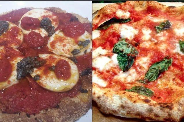 A sinistra la pizza di Carlo Cracco. A destra una pizza margherita stg / foto Fanpage.it