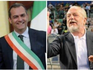 Il sindaco di Napoli Luigi de Magistris (sinistra) e il patron del Napoli Aurelio De Laurentiis (destra)