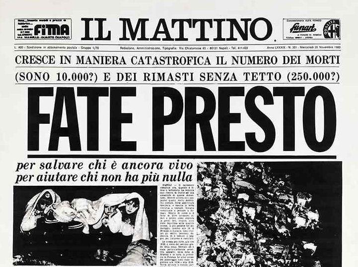 La storica pagina del Mattino dopo il terremoto in Irpinia del 1980
