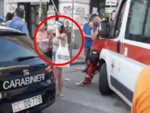 """Nel tondo la ragazzina aggredita al Vasto, a Napoli (frame di un video pubblicato su Facebook dall'utente """"Ciro l'idraulico"""")"""