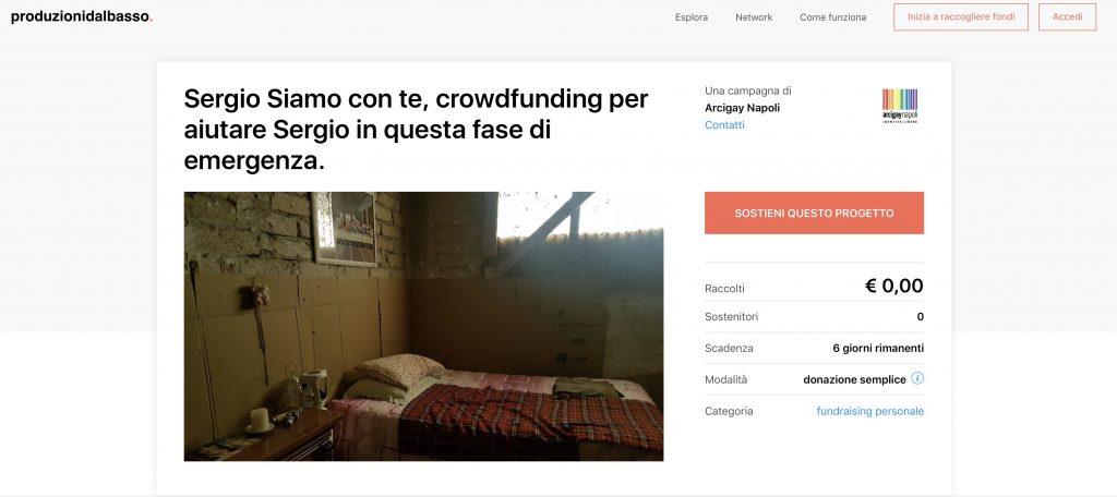 Le donazioni per Sergio, ferme a zero euro.