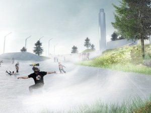 La pista da sci sull'inceneritore di Copenaghen, in Danimarca