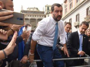 Matteo Salvini in visita a Napoli lo scorso 2 ottobre