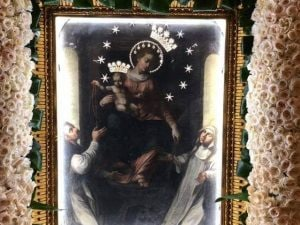 Il quadro della Madonna custodito nel Santuario di Pompei