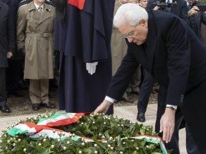 Il presidente Sergio Mattarella alla cerimonia del 75esimo anniversario della battaglia di Monte Lungo.