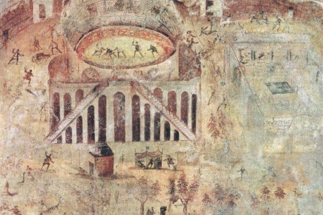 L'affresco della Zuffa tra pompeiani e nocerini, oggi esposto al Museo Nazionale di Napoli.
