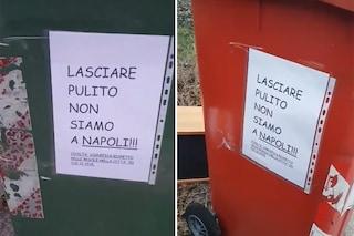 """""""Lasciare pulito, non siamo a Napoli"""": messaggio razzista sui bidoni dell'immondizia a Pordenone"""