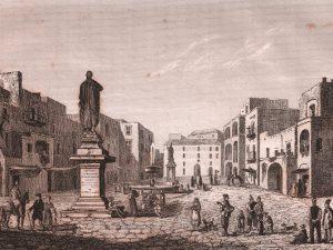 """La piazza di Pozzuoli con il famoso """"Mamozio"""". Illustrazione tratta da """"L'album, giornale letterario e di belle arti"""", del febbraio 1837."""