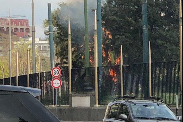 Incendio nella Villa comunale di Napoli