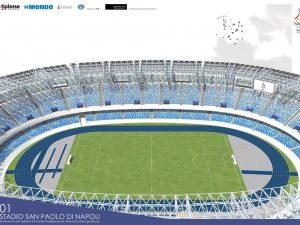 Il rendering del nuovo stadio San Paolo