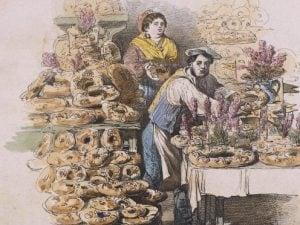 """La preparazione del casatiello a Napoli, in un'illustrazione di Francesco De Bourcard contenuta in """"Costumi e Tradizioni di Napoli e dintorni"""" (1866)."""