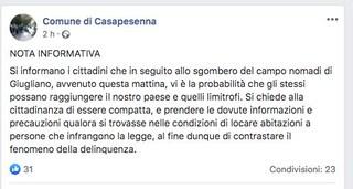 """Sgombero campo rom, sindaco di Casapesenna ai concittadini: """"Ora attenti ai delinquenti"""""""