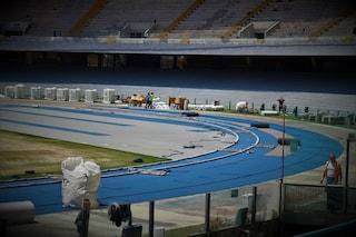 Lavori stadio San Paolo: cambia il colore della pista atletica, via l'arancione, è azzurra