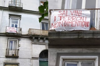 """""""I terroni non dimenticano"""": striscioni di protesta per Matteo Salvini a Napoli"""