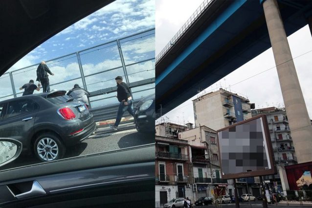 Il suicidio dal ponte della Tangenziale di Napoli /foto Fanpage.it