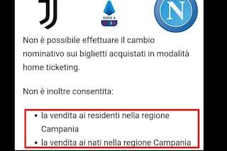 """Biglietti Juve-Napoli vietati ai napoletani, coro di proteste: """"È discriminazione territoriale"""""""