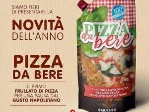 """La pubblicità della """"pizza da bere"""" apparsa su Facebook e diventata subito virale."""