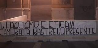 Morte Antonio Rastrelli: dopo i saluti romani striscione fascista fuori la Regione Campania