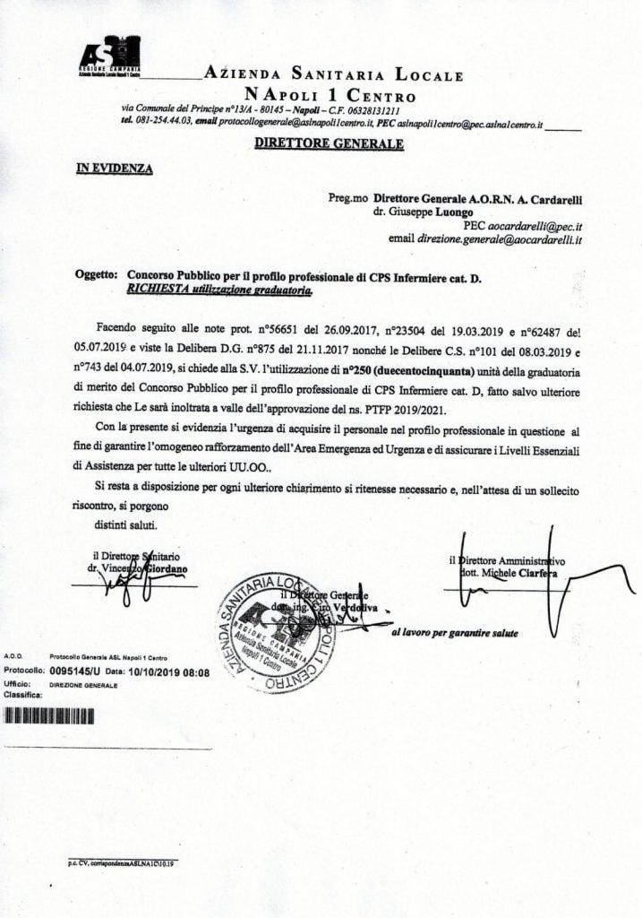 La richiesta di accedere alle graduatorie presentata dall'Asl Napoli 1 all'ospedale Cardarelli.