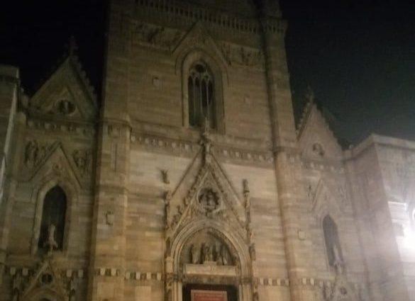 Il Duomo di Napoli come si presenta di sera