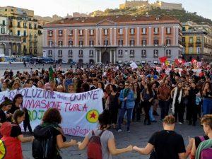 La manifestazione pro-curdi dello scorso 12 ottobre a Napoli.