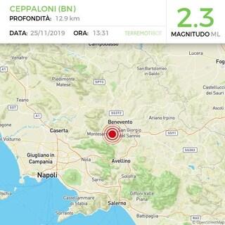 Terremoto a Benevento, scossa di magnitudo 2.0