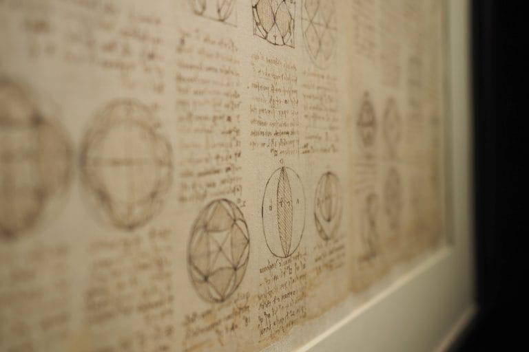 In foto il Codice Atlantico di Leonardo da Vinci