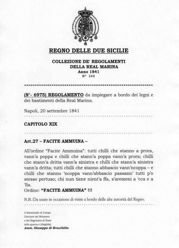 Il falso decreto, come appare oggi su alcune bancarelle di Napoli tra i souvenir per turisti.