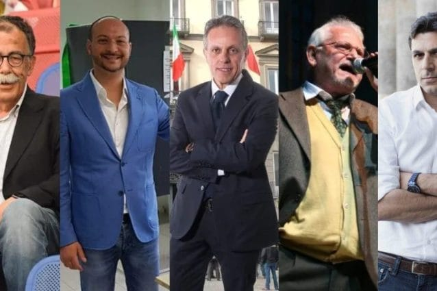 Da sinistra verso destra: Sandro Ruotolo (Pd, DemA), Luigi Napolitano (M5S), Salvatore Guangi (FI, Lega, FdI), Giuseppe Aragno (Potere al Popolo) e Riccardo Guarino (Rinascimento Partenopeo).