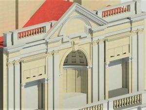 Il rendering della facciata di via Arcoleo della Galleria della Vittoria
