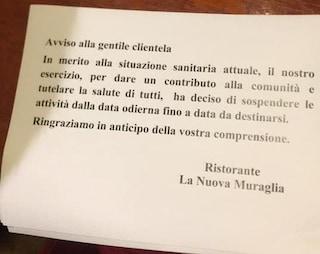 Coronavirus Salerno, chiude ristorante cinese: 'Sospendiamo le attività'