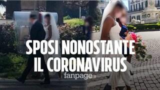 Coronavirus, gli sposi con le mascherine a Napoli: 'Non potevamo rimandare le nozze'